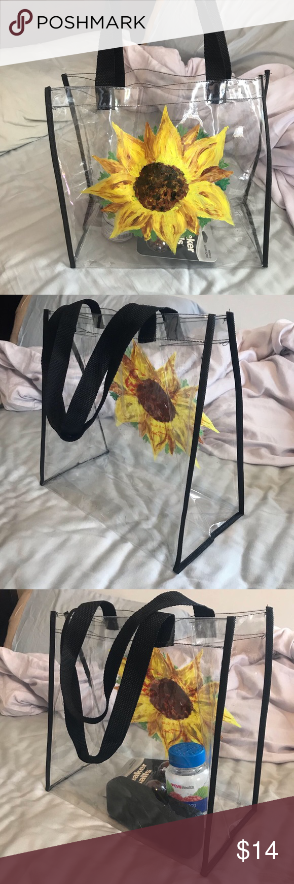Sunflower art tote Clear plastic flower bag. Stadium