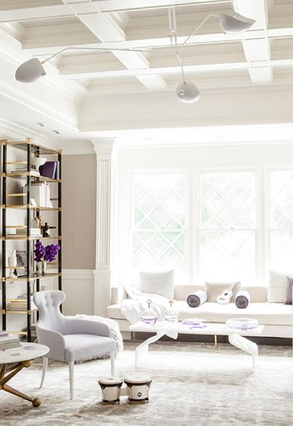 Contemporary interior design & decor in neutral white & taupe / Windsor Smith / Gwyneth Paltrow's South Hampton Game Room