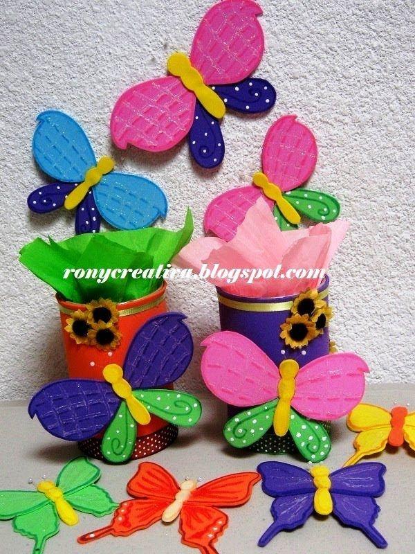 Como hacer mariposas de fomi o goma eva manualidades con - Plumas para decorar ...