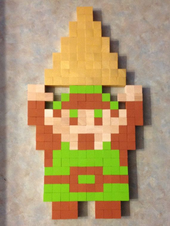 Legend of Zelda Link w/ Triforce 8 Bit Wall Art by ClassicsCubed ...