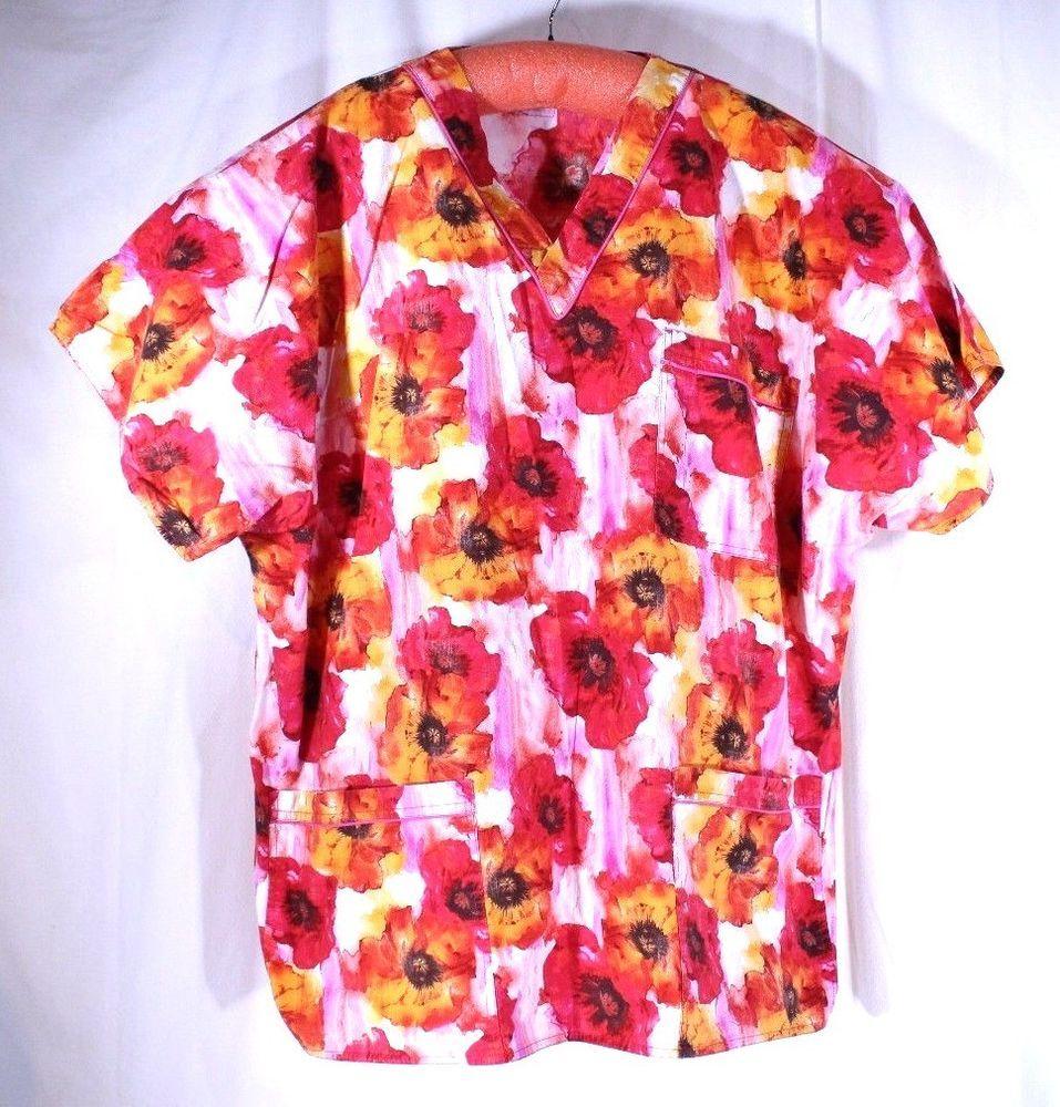 182b3859441 SCRUBS Plus Size 3XL See Measurements Bright Floral Scrub Top 3 Pocket # SCRUBS