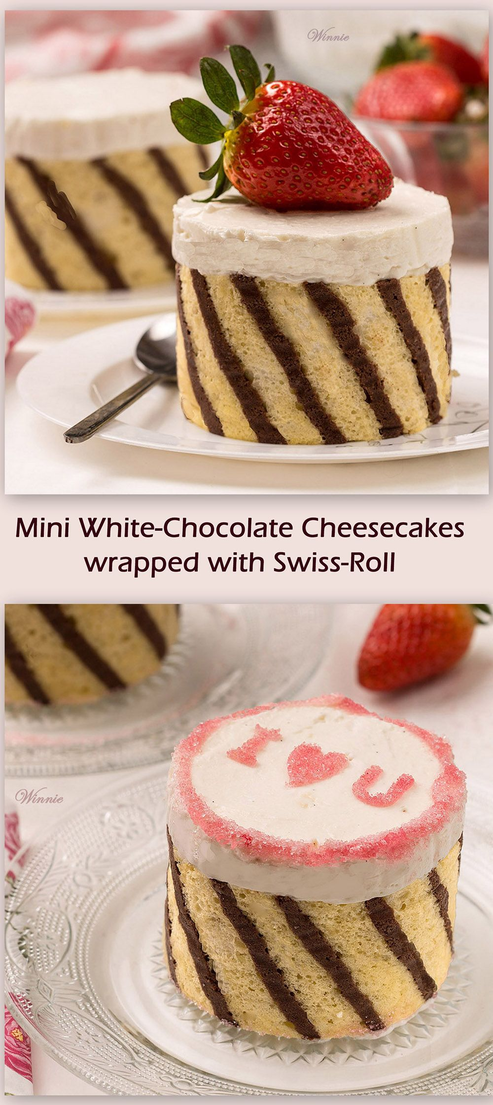 Mini White-Chocolate Cheesecakes, wrapped with Swiss-Roll