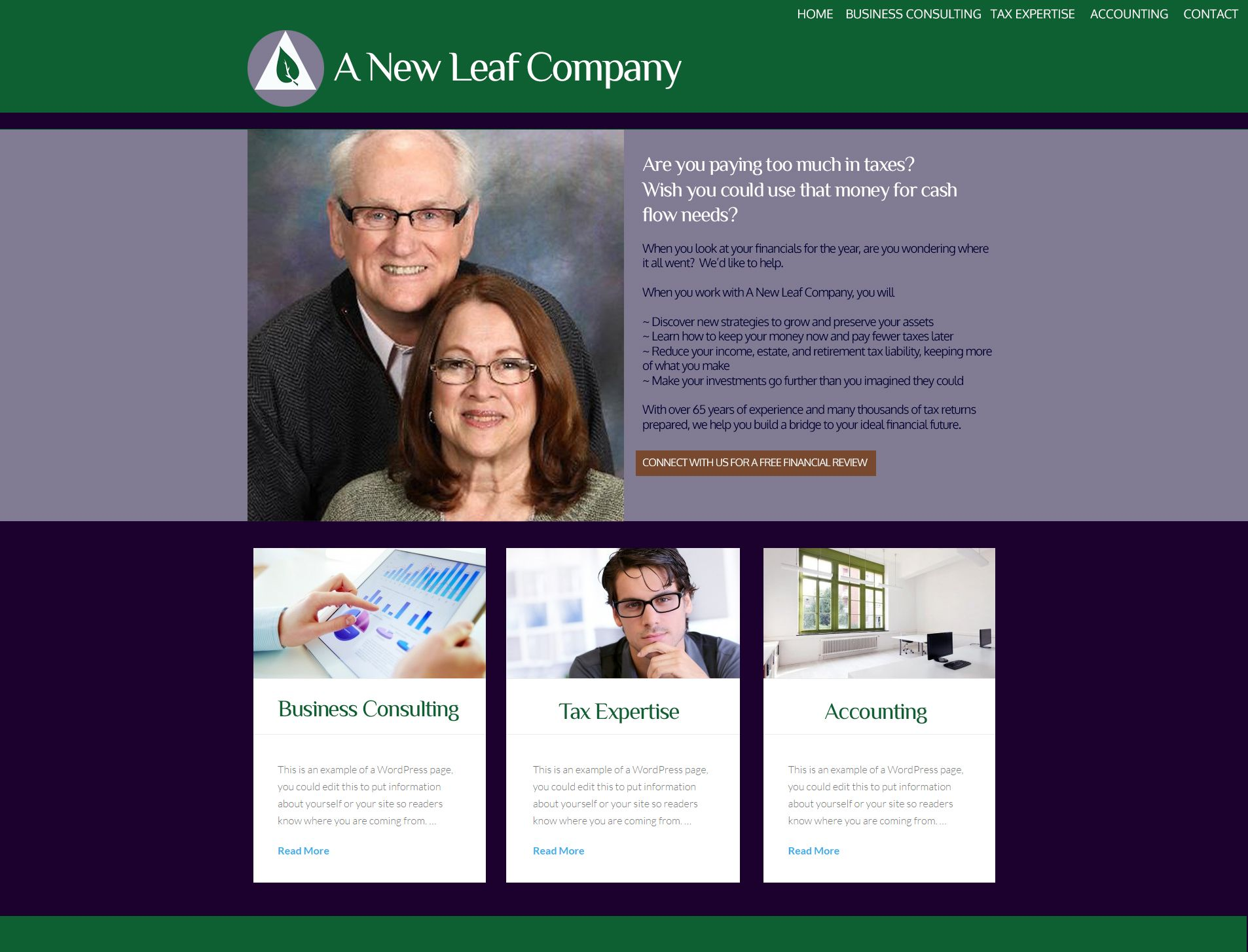 Website Theme Design For A New Leaf Company An Accounting Firm Based In Santa Rosa Ca Spiritual Entrepreneur Consulting Business Marketing Company