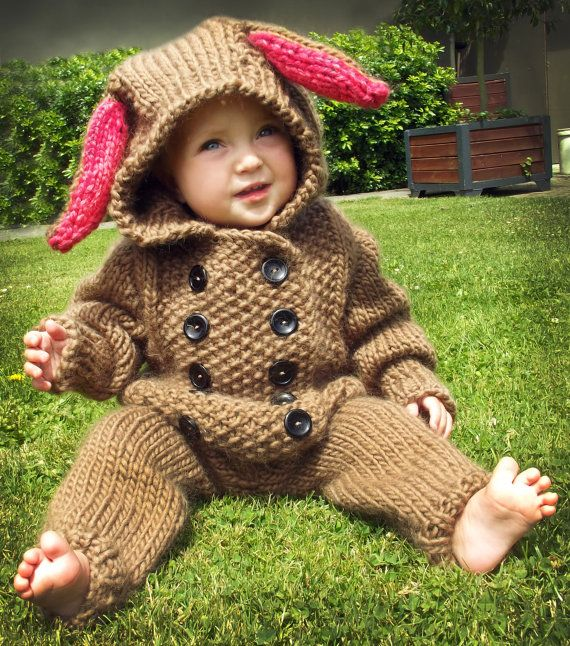 Knitting Pattern Double Breasted Bunny Suit for Baby - #ad A super ...