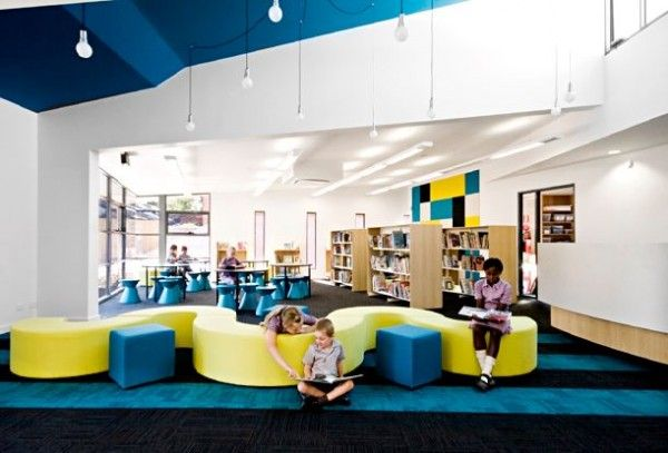 School Library Decorating Ideas School Design With Colorfull