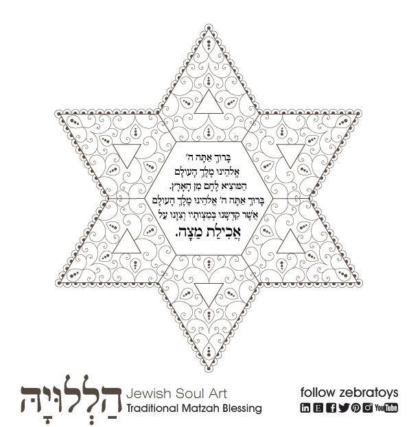 haggadah matzah blessing passover coloring page 1 printable design jewish crafts supplies aancient sacred art instant download by zebratoys