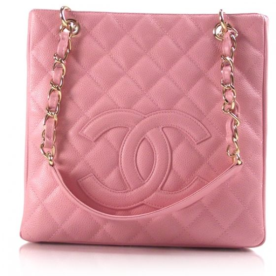 7102c2b2ccd0 This is a guaranteed authentic Chanel Caviar petite Shopping Tote PST. This  bag is done in a pink caviar quilted leather with CC stitching on the front.
