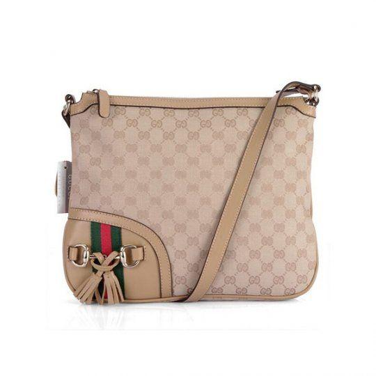 Gucci Women Apricot Shoulder Bag 232967 Canvas Handbags Outlet Online