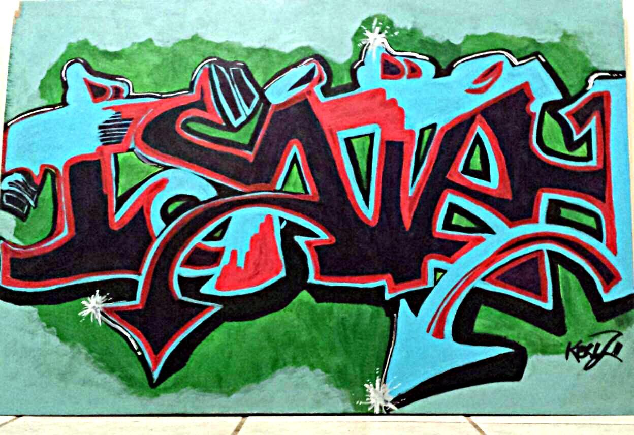 Graffiti art on wood - Isaiah Graffiti 2013 Acrylic On Scrap Wood Board