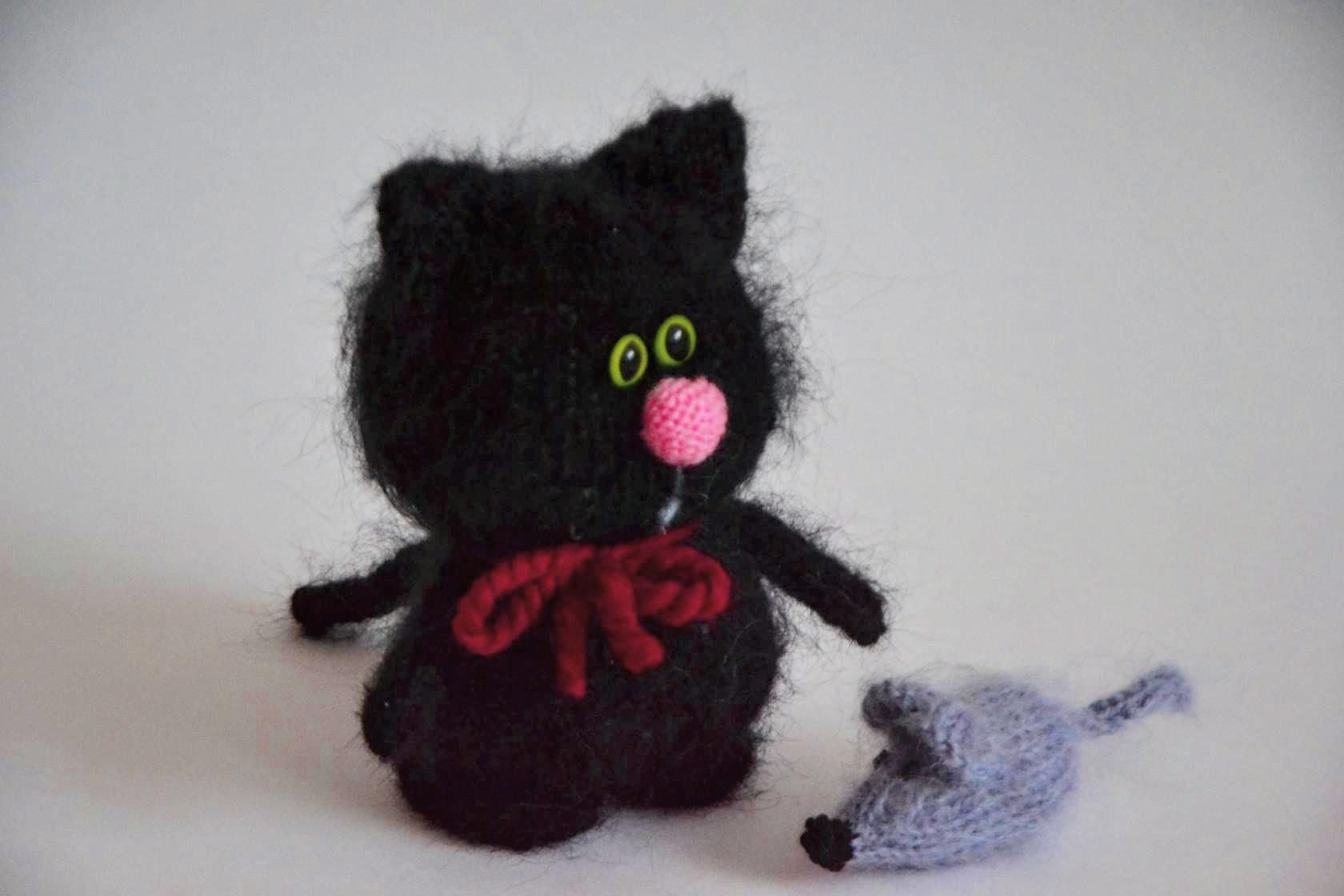 Knitted Cats Kitten Amigurumi Toy Black Knitted Cat Cute Fluffy