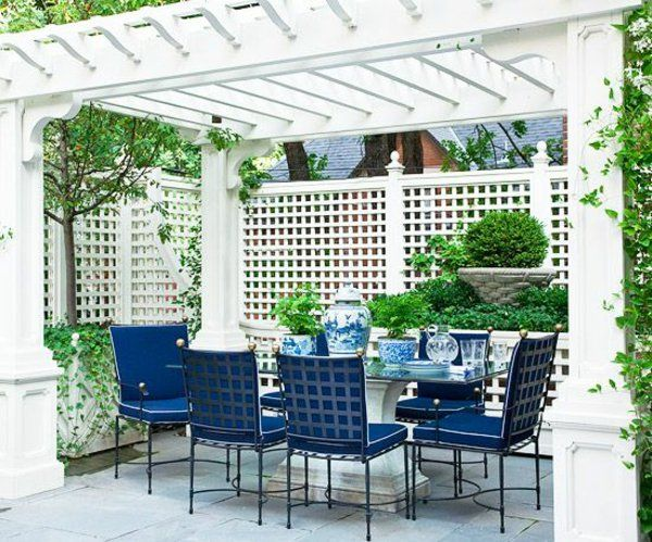 garten ideen pergola selbst bauen weiß esstisch stühle porzellan, Gartengerate ideen
