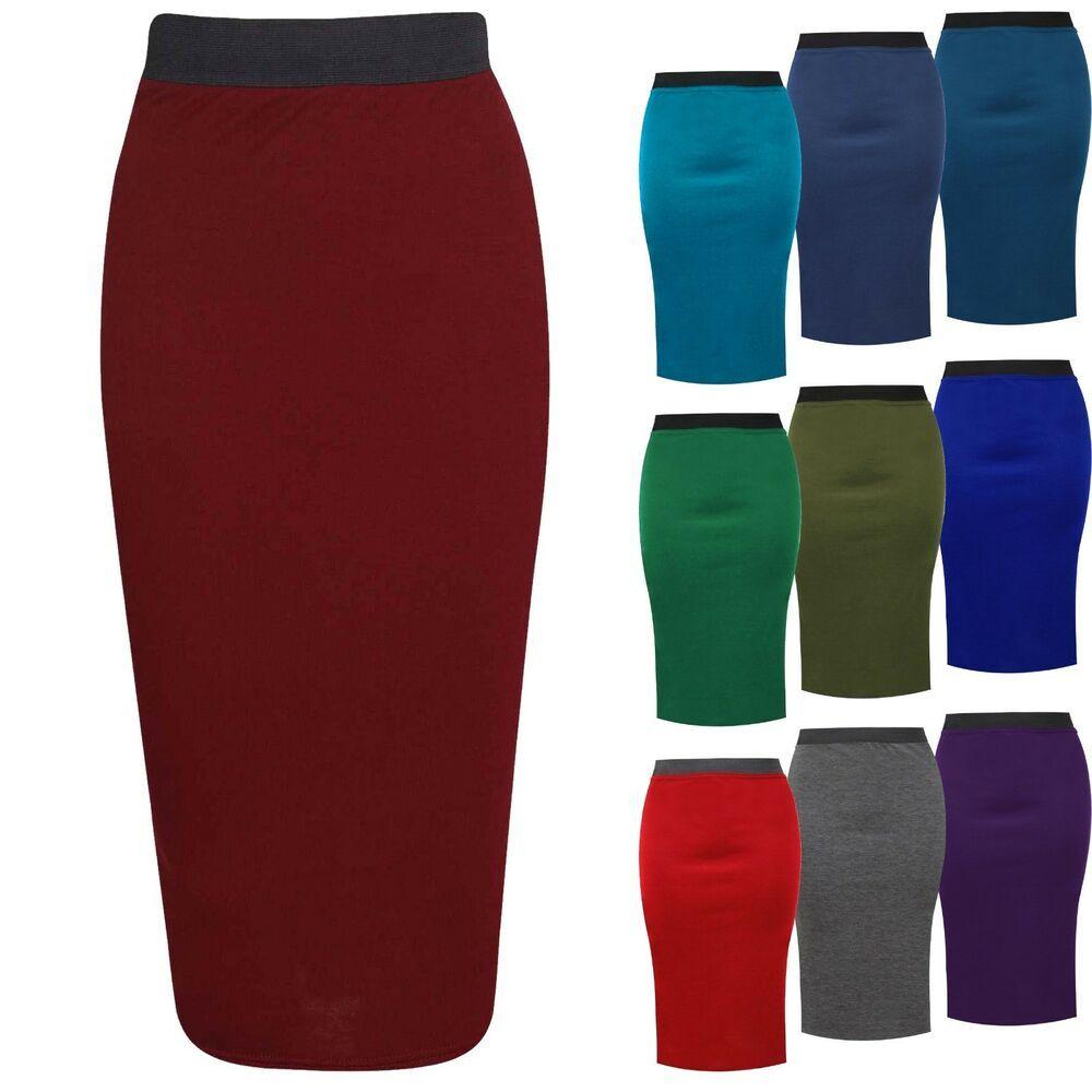 New Women/'s Plain Office Stretch Bodycon Midi Pencil Skirt Plus Size UK 8-26