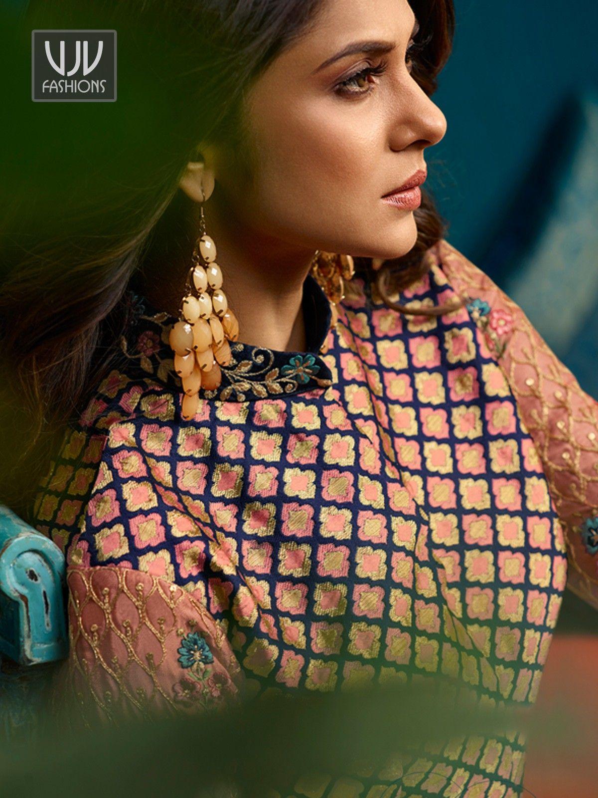 Jennifer Winget Peach Georgette Designer Anarkali Suit ...