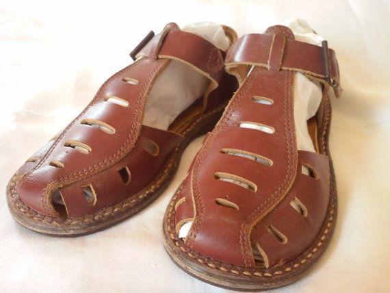 b55b3466244fa 1953 Vintage Boys Leather Sandals by RunningBoardsVintage on Etsy ...