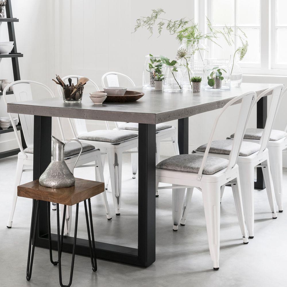 Esstisch Himalaya 160 x 90 cm Tischplatte weiß grau