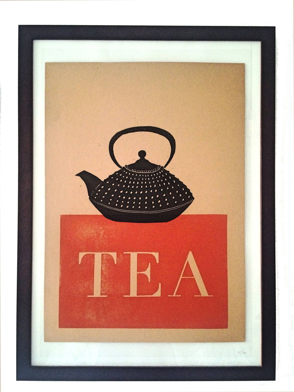 Kitchen Art Tin Backsplash Lino Print Japanese Tea Pot Block Tetsubin