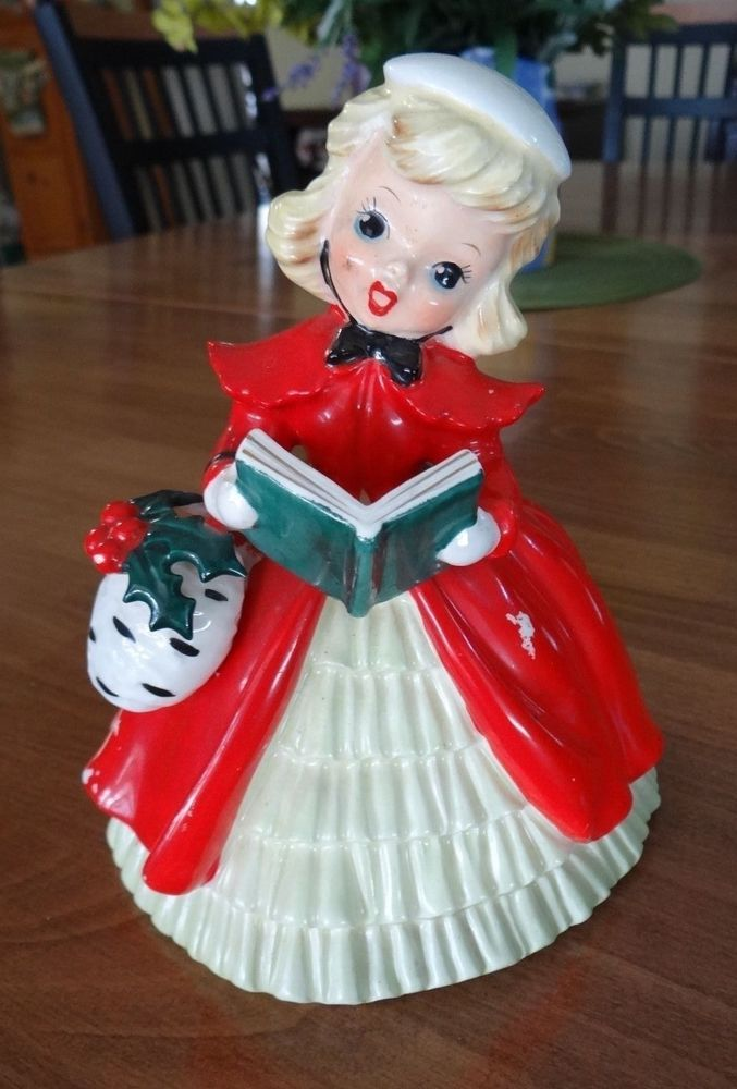 VINTAGE CHRISTMAS DECORATION GIRL CAROLER CERAMIC PLANTER  1950'S HOLIDAY FIGURE    eBay