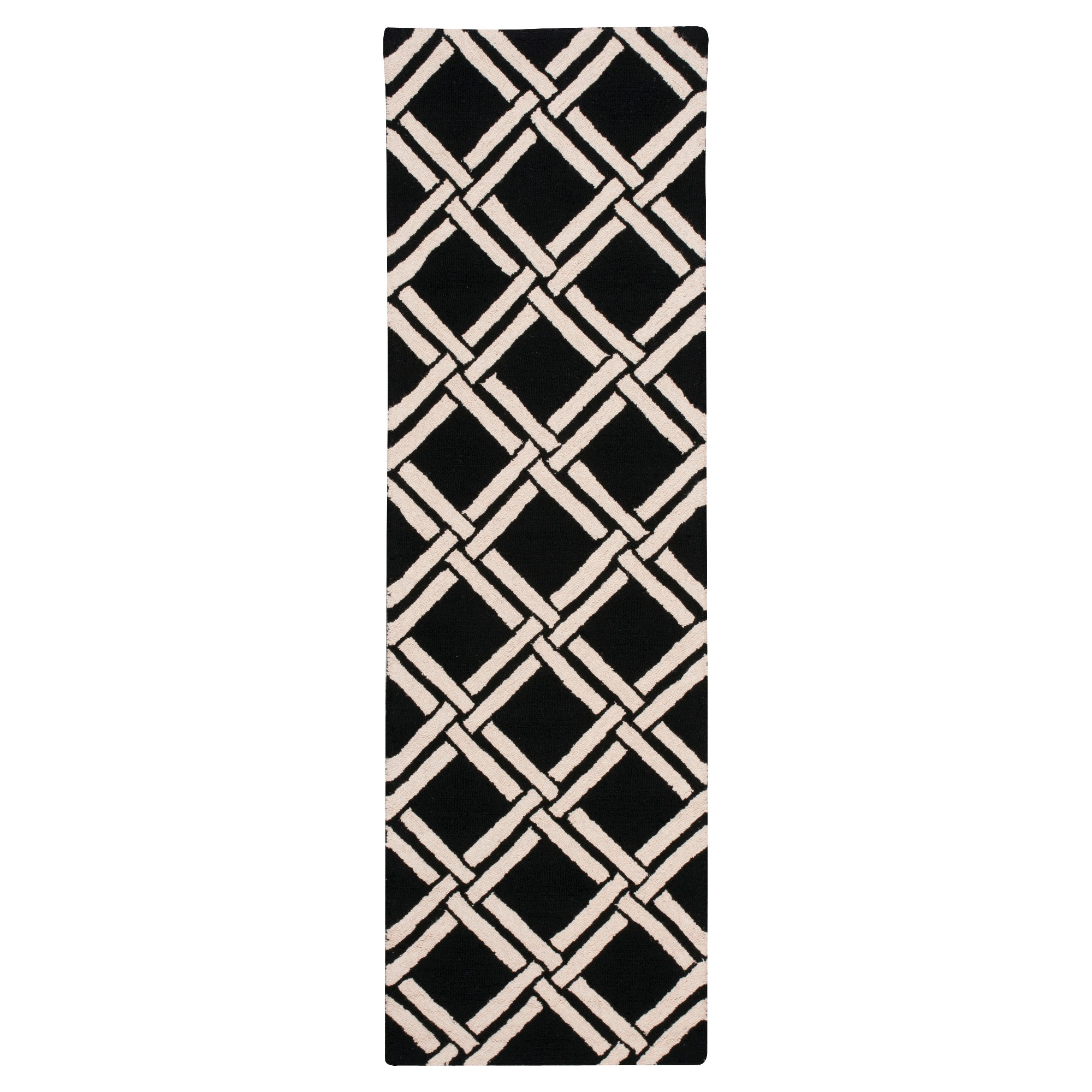 Nourison diamond lattic linear accent rug blackwhite u