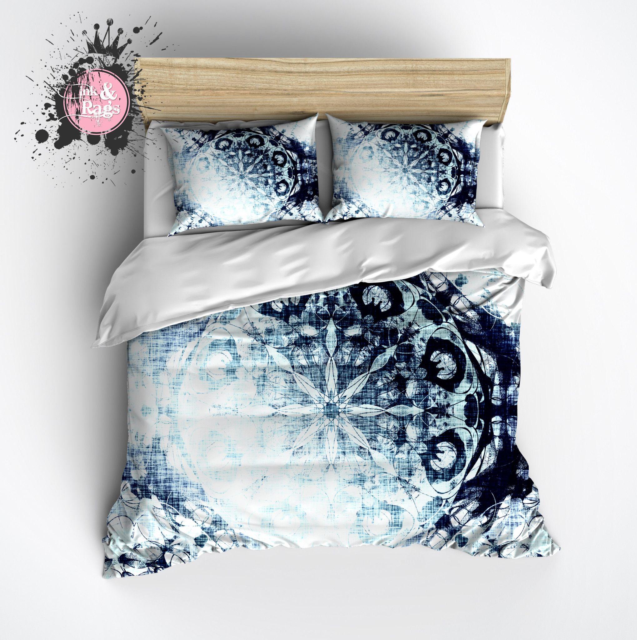 Boho Blue Ombre Mandala Duvet Bedding Sets