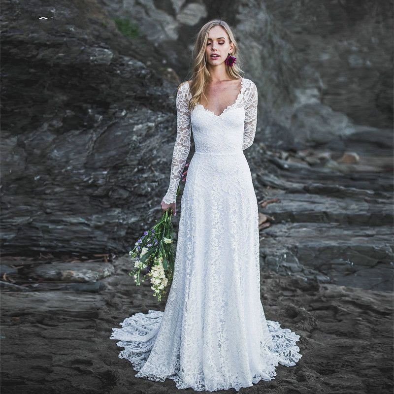 Long sleeves lace wedding dresses 2019 open back country