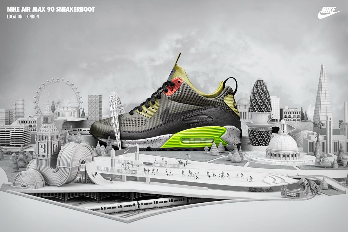 A series of re-imagined iconic cityscapes built around the NIKE Sneakerboot collection. Created with Michael, Lyndsey and the whole sportswear team at NIKE. Product photography by Swanson Studio in Portland. 3D design and production by Chris LaBrooy.
