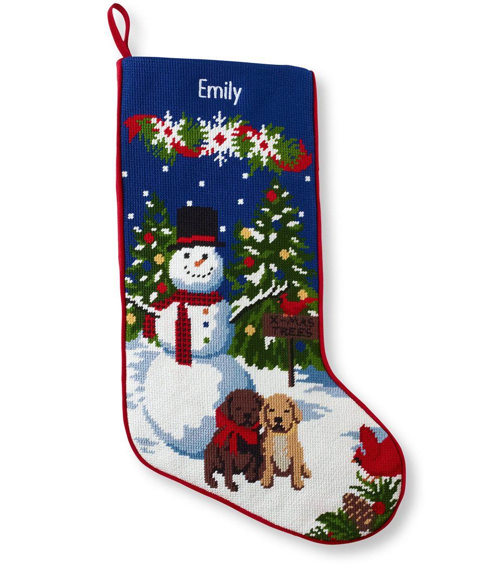 Christmas Needlepoint Stocking, Cotton Needlepoint