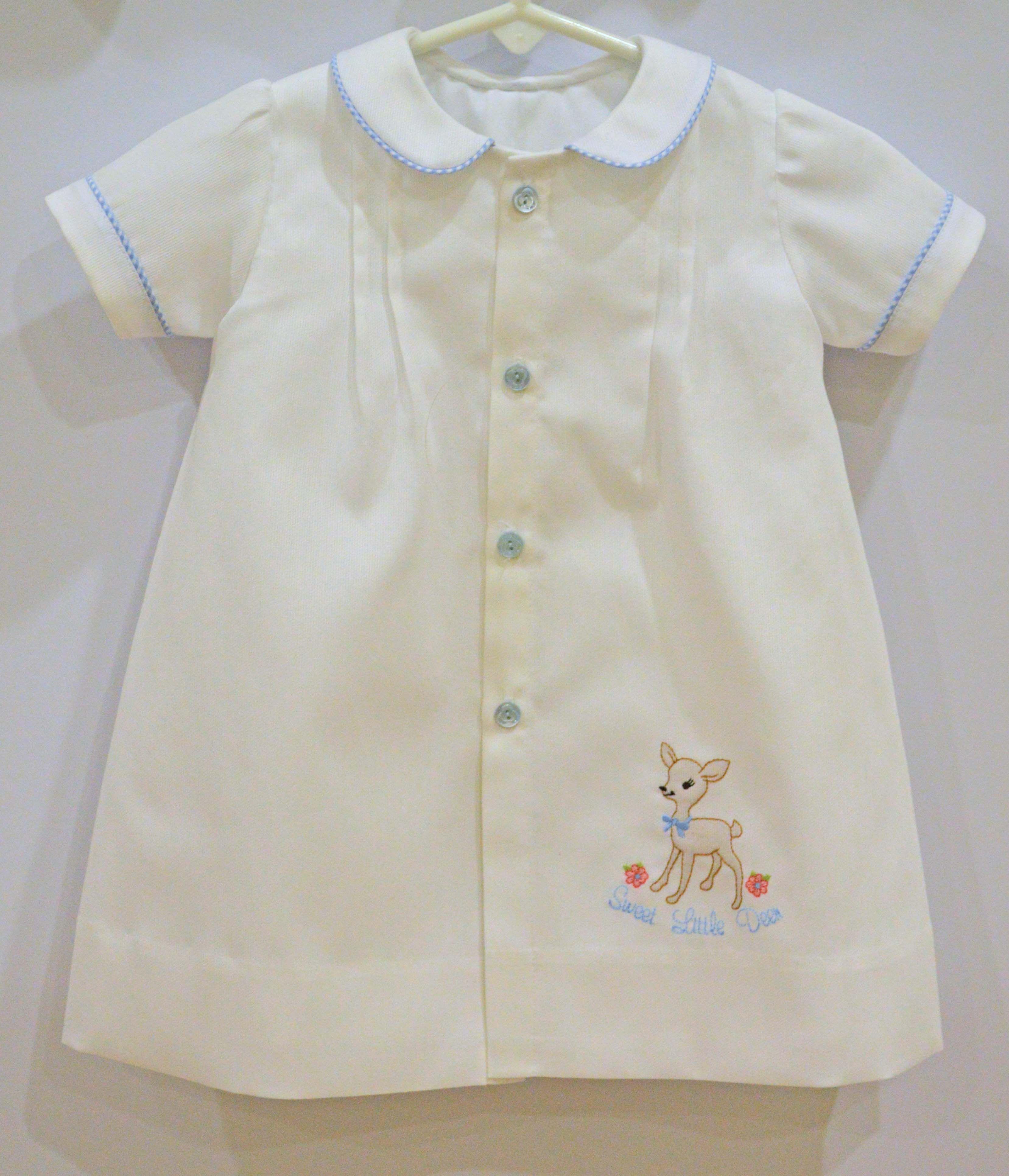 Baby boy day gown with machine shadow work little deer ...