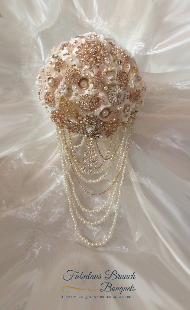 Custom Pink Gold Cascading Brooch Bouquet This Features Beautiful Rose Brooches On Ivory