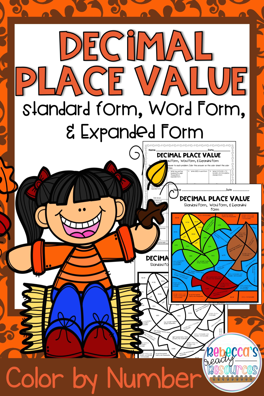 Decimal Place Value Standard Word Amp Expanded Form Color