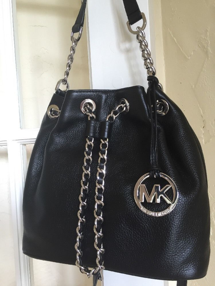 548a7b9b4620 MICHAEL Michael Kors Frankie Medium Drawstring Messenger Black Leather…
