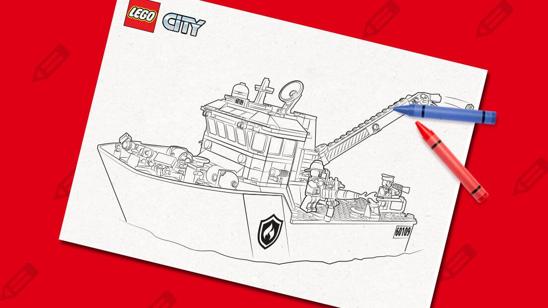 Fire Boat Activities Colouring Page Activities Lego Coloring Doodle Videos Lego Coloring Sheet
