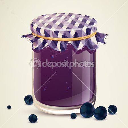 domácí borůvkový džem — Stock ilustrace #42005031