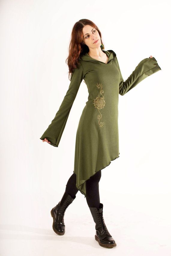 Elven dress. Boho dress. Cowl neck pixie dress. Gypsy hooded dress. Faery dress. Tunic dress. Elven hood dress. Pixie dress, festival