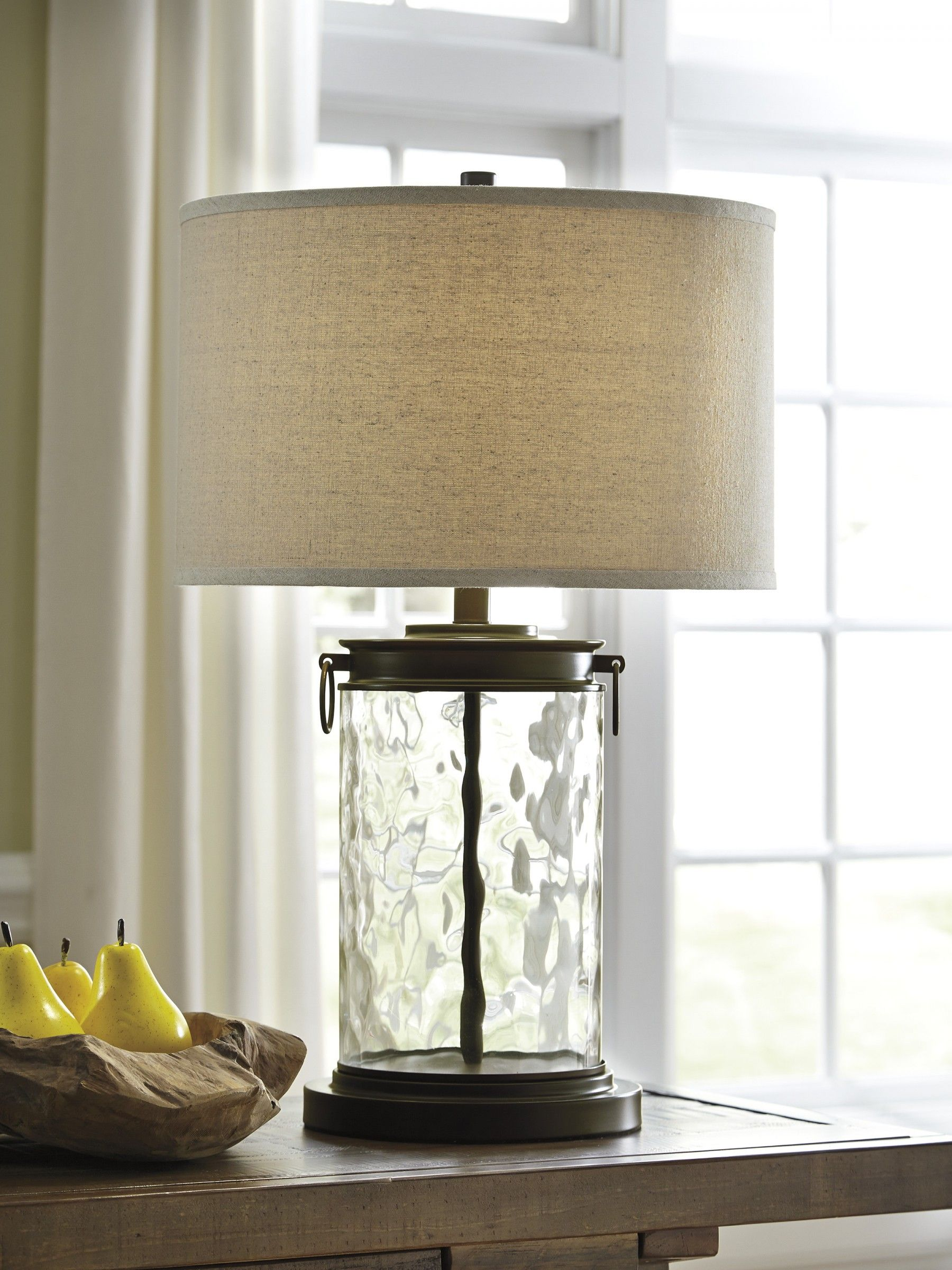 Signature Design By Ashley Tailynn Clear Bronze Finish Glass Table Lamp Goedekers Com Table Lamps Living Room Glass Table Lamp Table Lamp