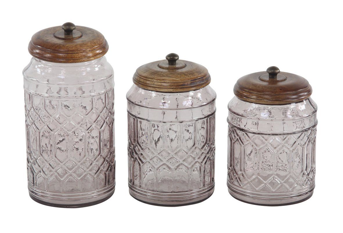Vicknair Round Textured Glass 3 Piece Storage Jar Set Farmhouse Glass Ceramic Kitchen Canisters Clear Glass Canisters