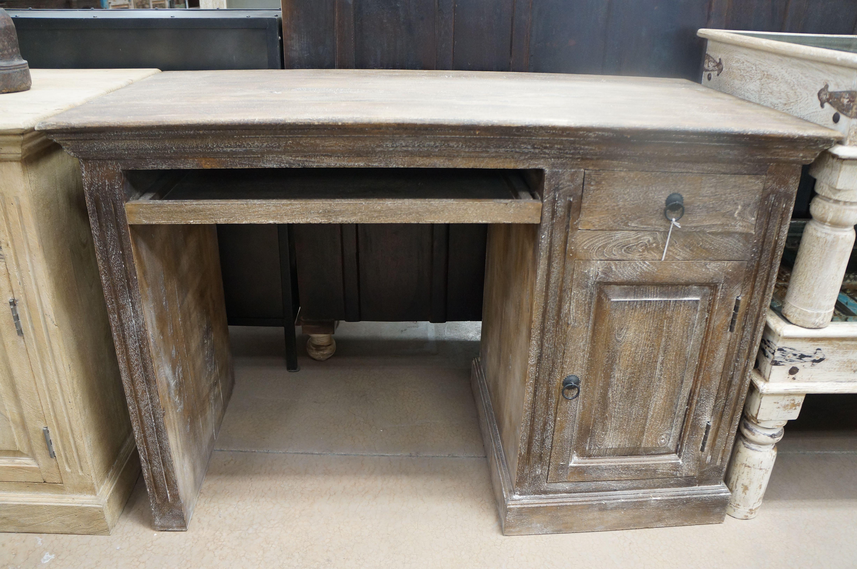Custom Whitewashed Cottage Chic Antique Desk Whitewashed