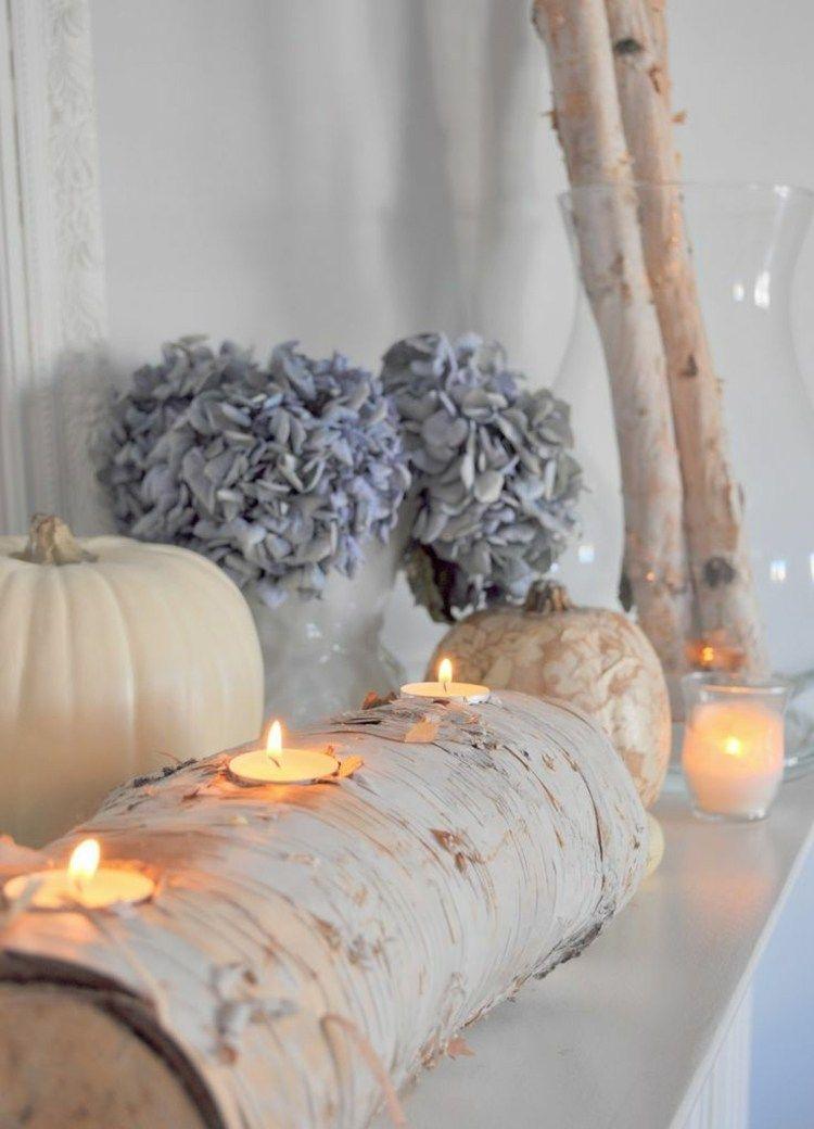 birkenstamm deko teelicht halter weisse kuerbisse getrocknete hortensien diy pinterest. Black Bedroom Furniture Sets. Home Design Ideas