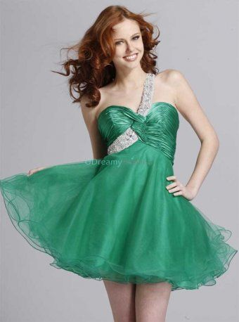 Green homecoming dress with one beaded shoulder strap across the sweetheart neckline. Full organza skirt. Show off your sophisticated sense of style in this short dress! Free made-to-measurement service for any size. Available colors seen as in Color Options.