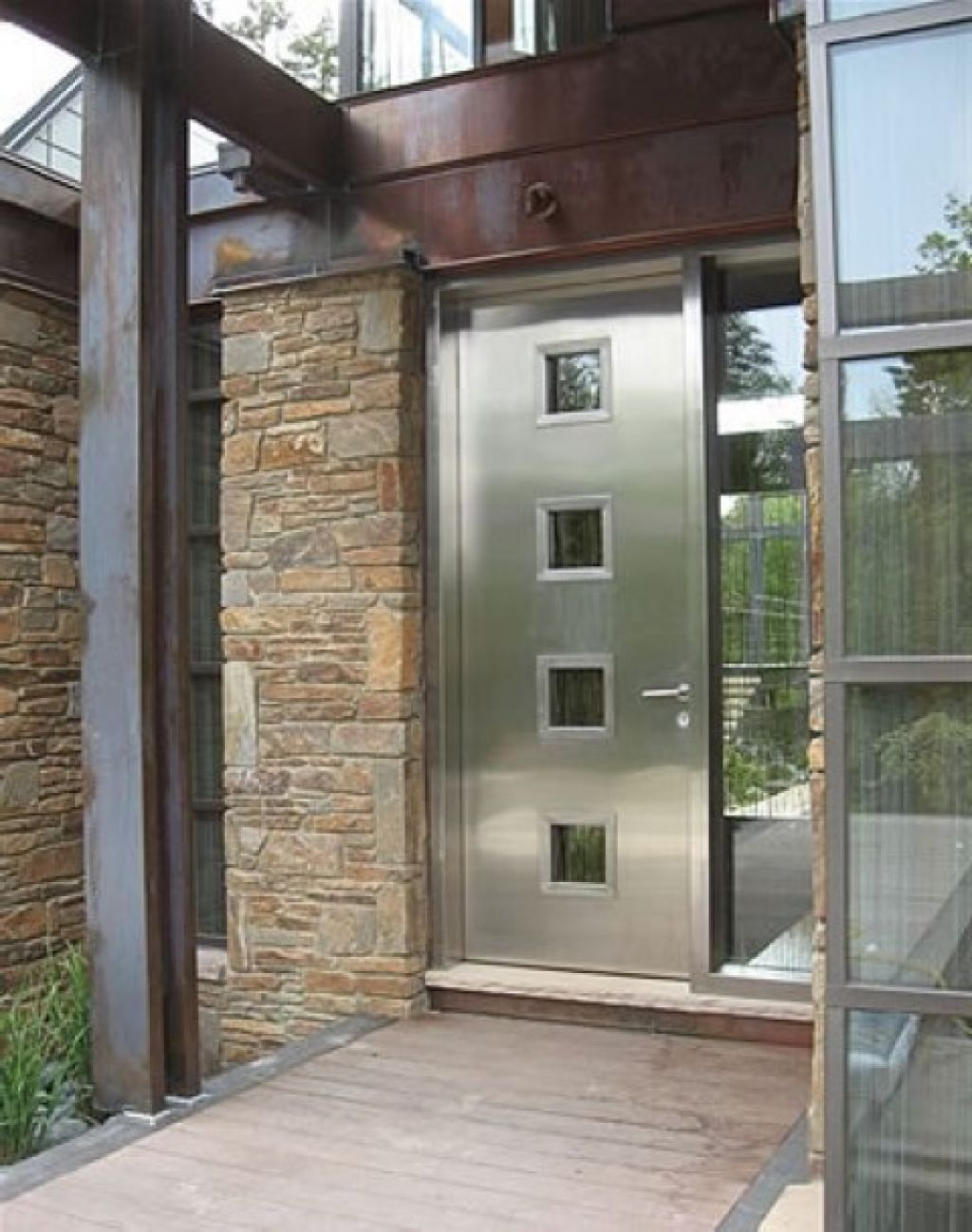 Modern Steel Door And Hollow Metal Frame Design With Chromed Gallery Pictures