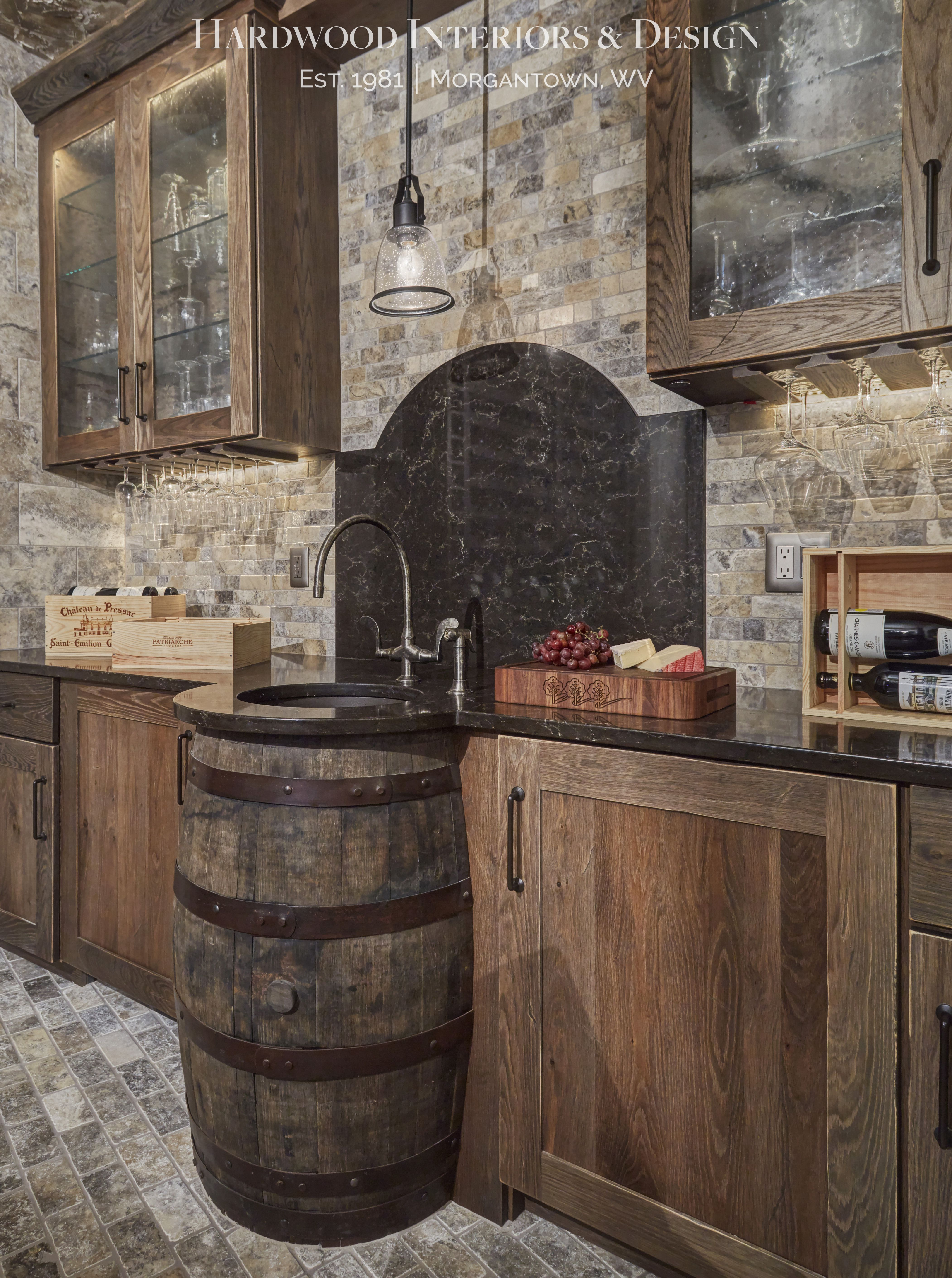 Hardwood Interiors Design Custom Wine Cellar With Wine Barrel Sink Sink Barrel Sink Custom Wine Cellars