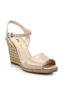 e35277c0904db Prada - Patent Leather Espadrille Wedge Sandals | Shoes | Leather ...