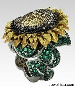 Diamond sunflower ring by Alex Soldier Just stunning Dream ring I