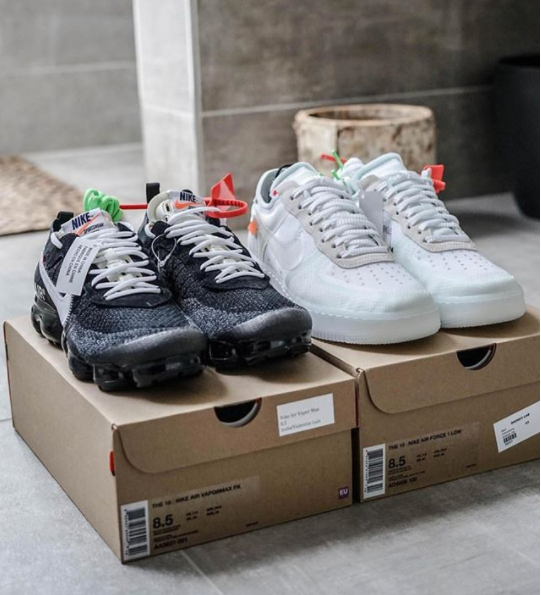 fd234bb10f0 The Ten OFF-WHITE × NIKE AIR VAPORMAX AA3831-001 and OFF-WHITE x Nike Air  Force 1 Low White