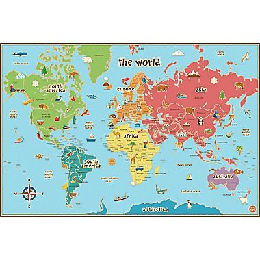 Wall pops dry erase world kids map 36in x 24in wall mural kids dry erase world map wall decal from bed bath beyond gumiabroncs Images