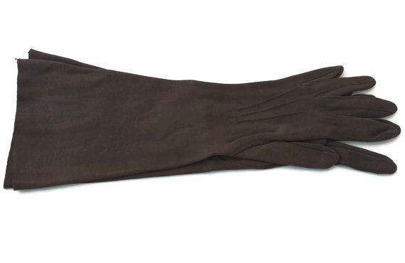 Vintage Long Gloves Chocolate brown Cotton SonnEtte
