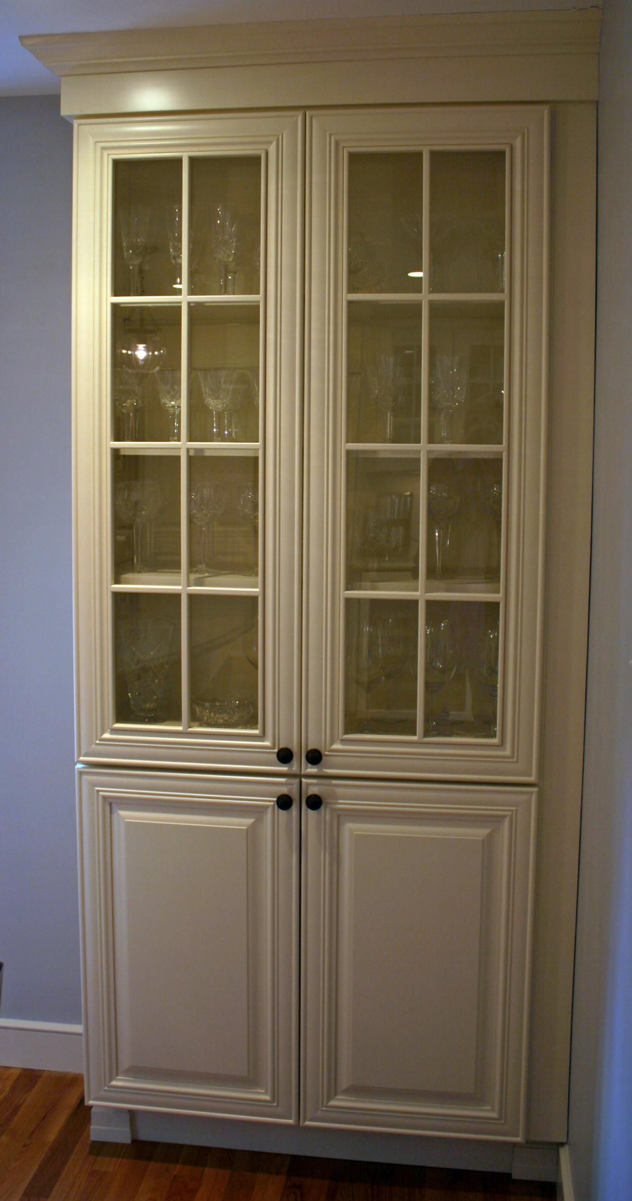 Tall display cabinet with clear glass | Kitchen display ...