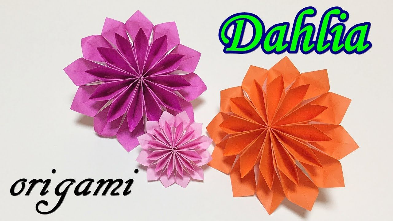 Origami Flower Easy Tutorial For Beginners How To Make A Paper Dahlia Paperovi Kviti Origami Kviti