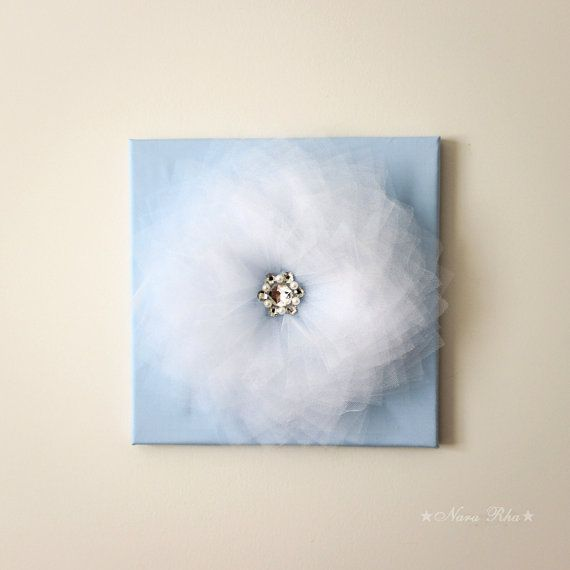 Baby Blue Hanging Wall Decor Wall Flower Art Flower by NaraRha, $34.00