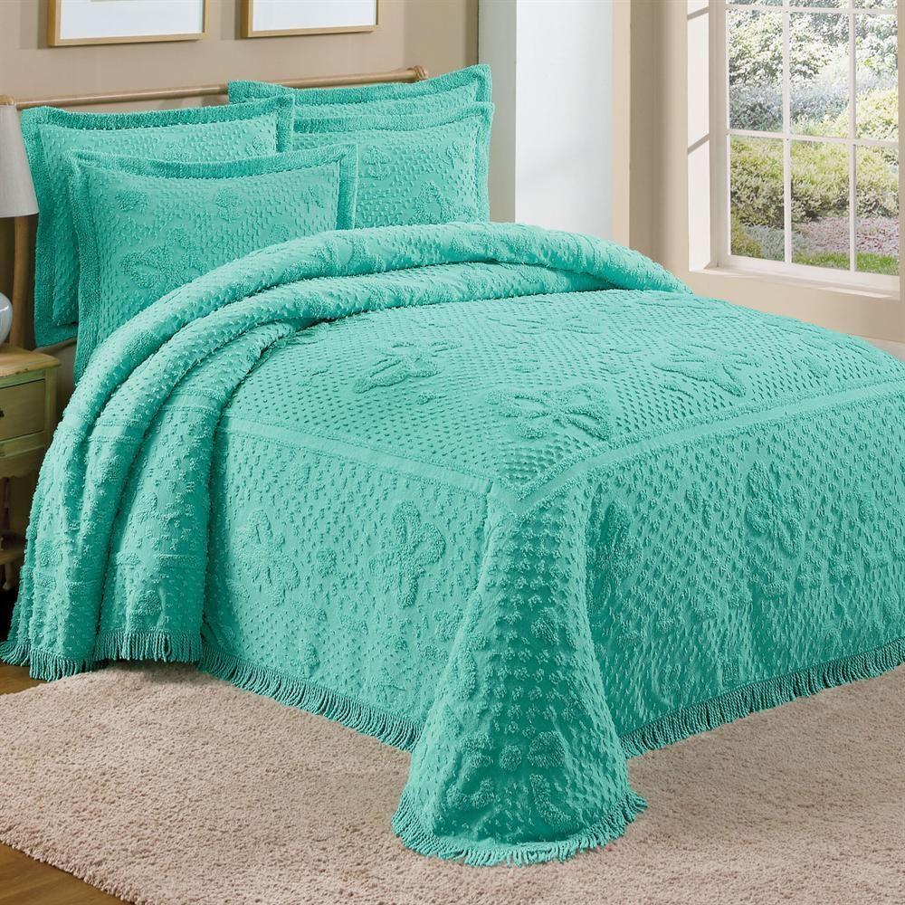 Teal Green Chenille Bedspread Shams Butterflies Chenille