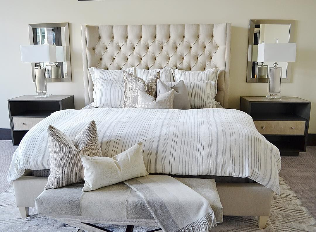 Mirrors Behind Bedside Lamps Neutral Bedroom Decor Luxurious